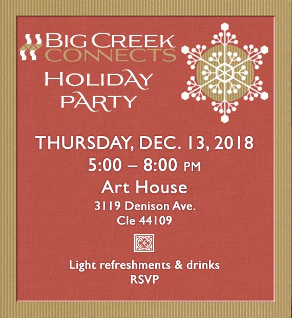 Holiday party Thurs., Dec. 13, 5-8pm @Art House, 3119 Denison Ave., 44109